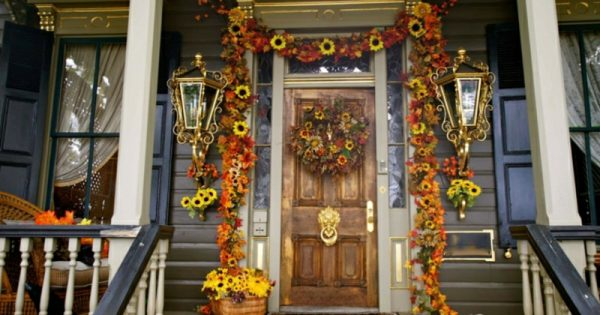 Herbstdeko f r den hauseingang 25 eindrucksvolle bastelideen - Herbstdeko furs fenster ...