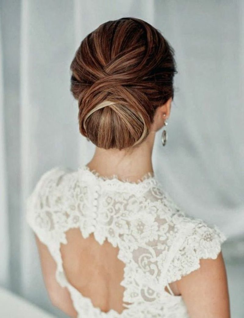 Konfirmationsfrisuren elegant Chignon