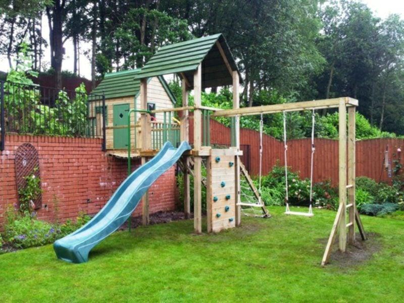 Spielecke im Garten Klettergerüst Gestaltungstipps