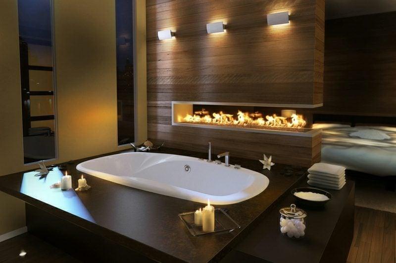 Luxus Badezimmer Kamin grosse Badewanne
