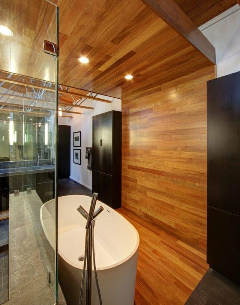 Badezimmer Design modern Holzverkleidung