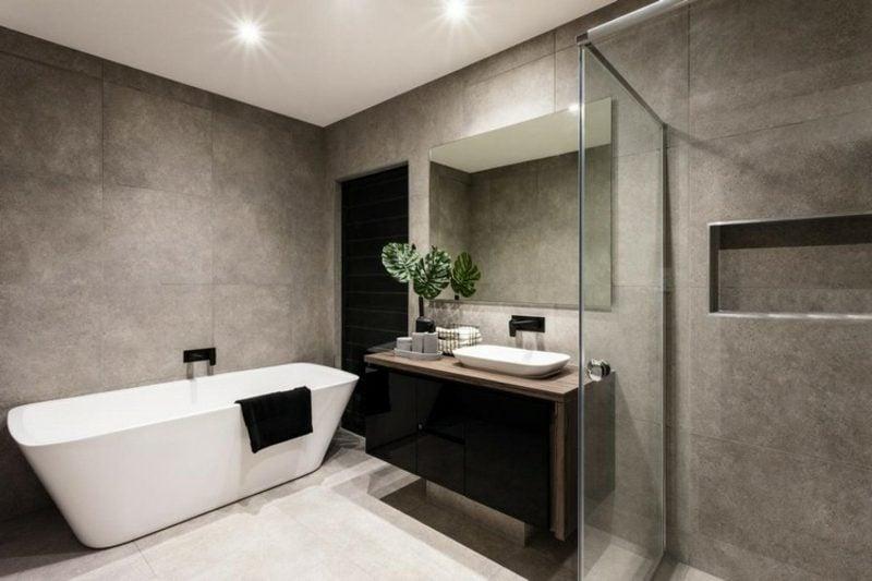 Badezimmer Fliesen ideen graue Steinfliesen