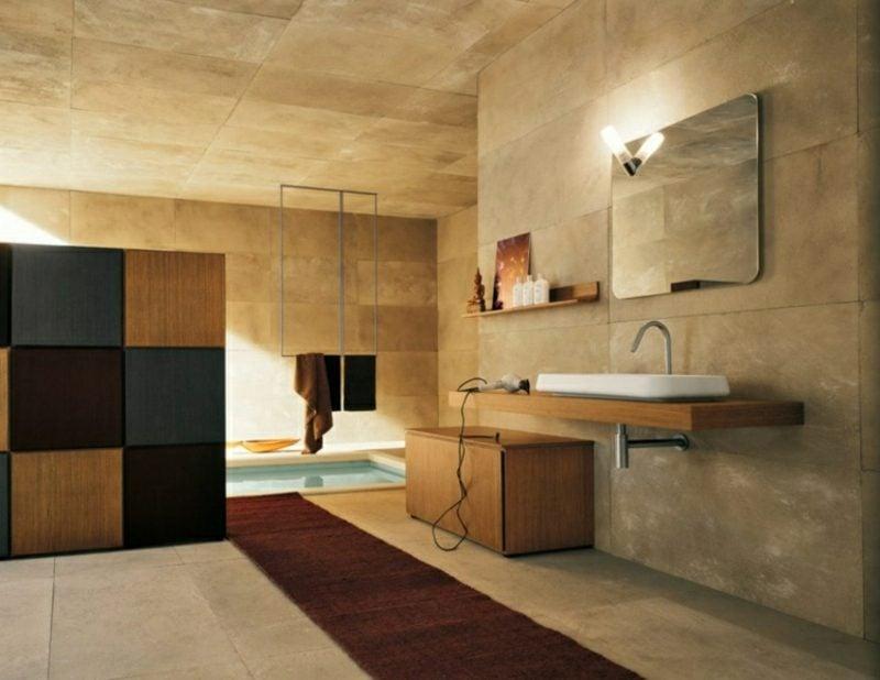 Badezimmergestaltung modern beige Steinfliesen