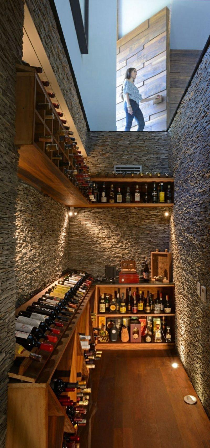 atemberaubende Ideen Eifamilienhaus Mexico Weinkeller Glasdecke