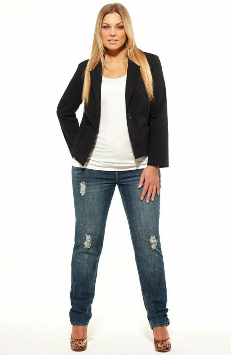 Mode für Mollige Jeans und Jacke