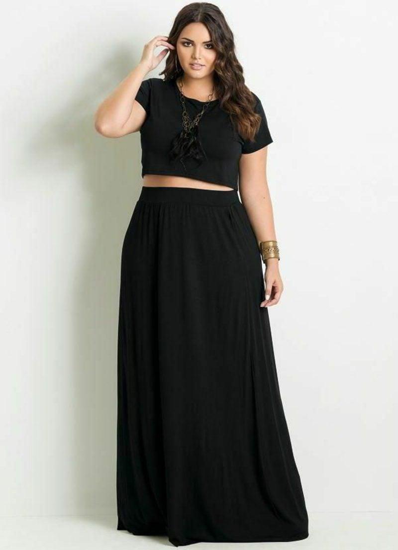 Mode für Mollige eleganter Outfit in Schwarz