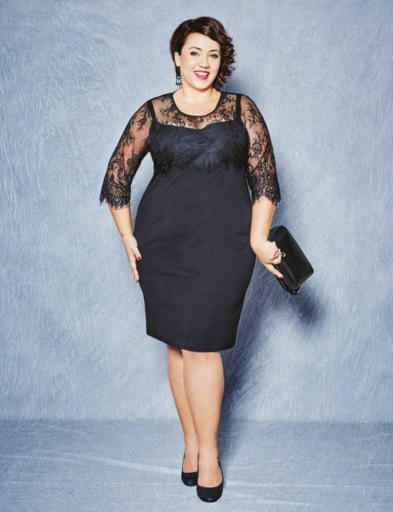 Mode für Mollige schwarzes Kleid elegant klassisch