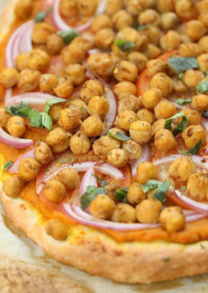Pizza belegen vegane Rezepte Kichererbsen und Zwiebeln