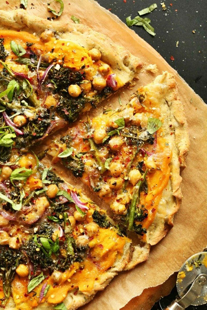 Pizzabelag gesund vegan Kichererbsen