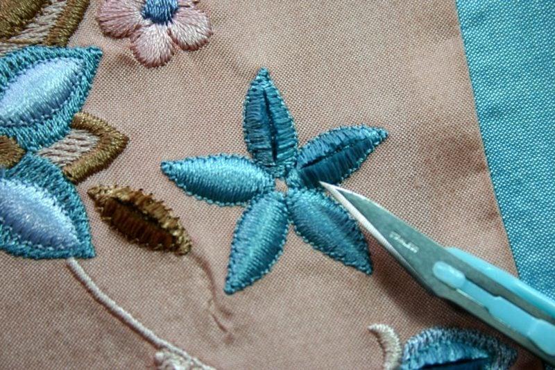 Sticken lernen Satinstich Blume