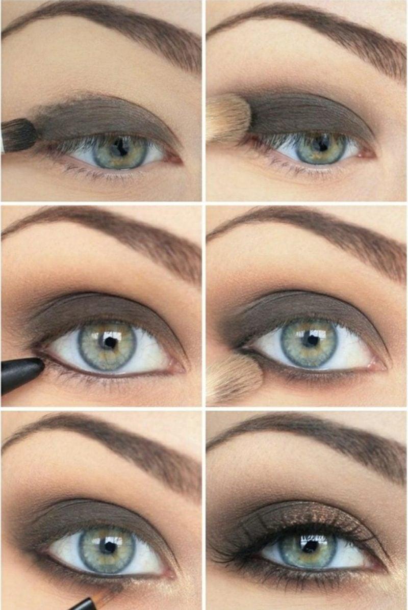 Smokey Eyes schminken blaue Augenfarbe