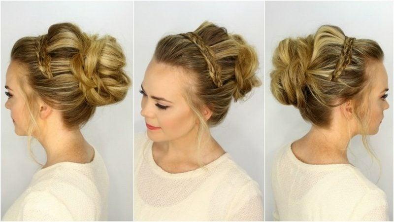 Brautfrisuren lange Haare Hochsteckfrisur Dutt Flechtzopf
