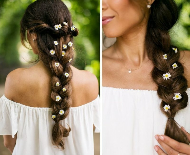 Frisuren lange Haare flechten Sommerlook