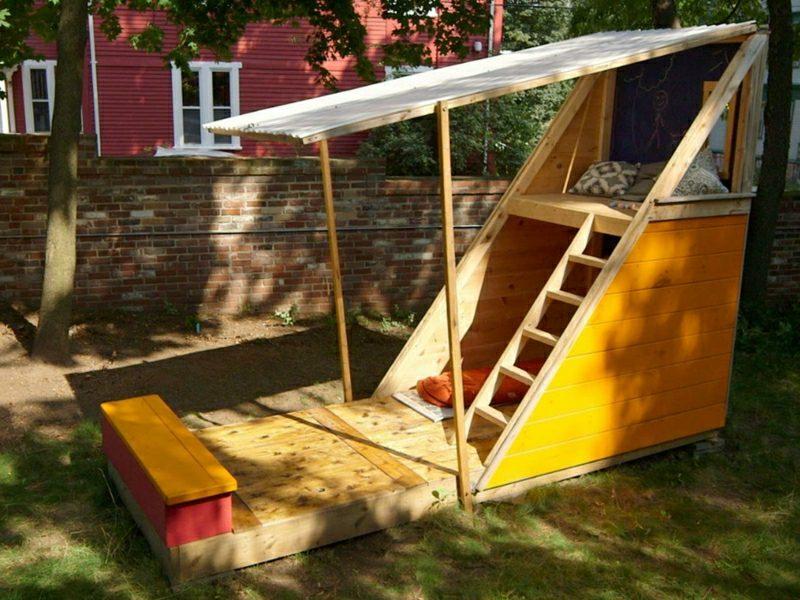 Spielhaus Holz Garten selber gebaut