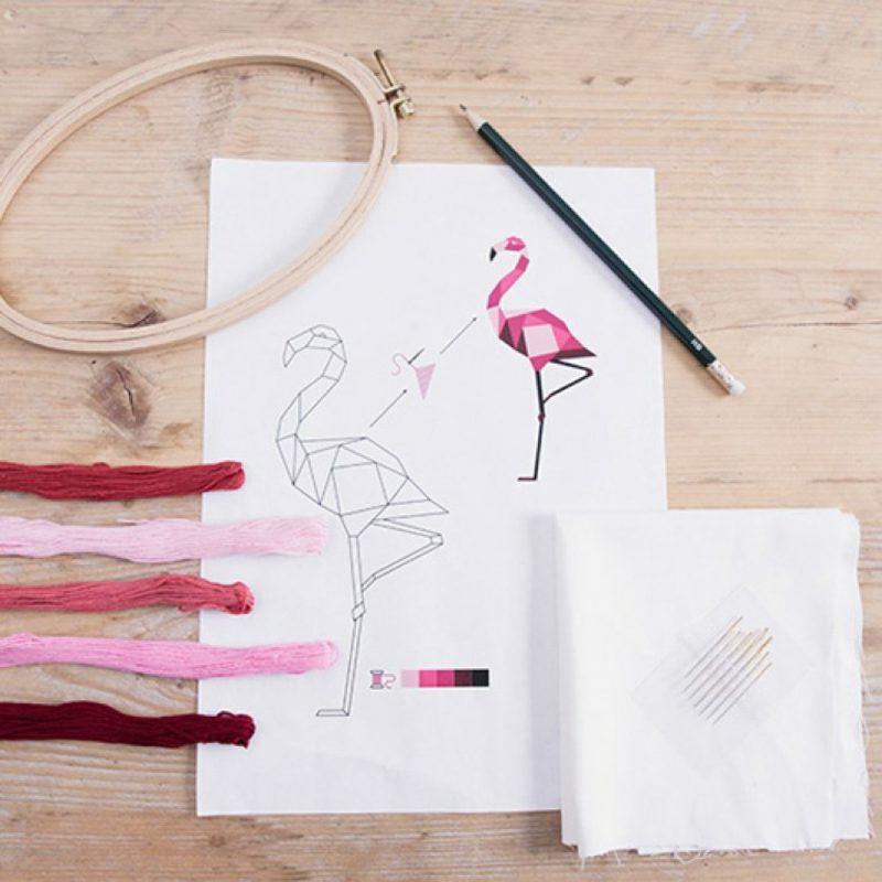 Sticken lernen originelle Muster Flamingo