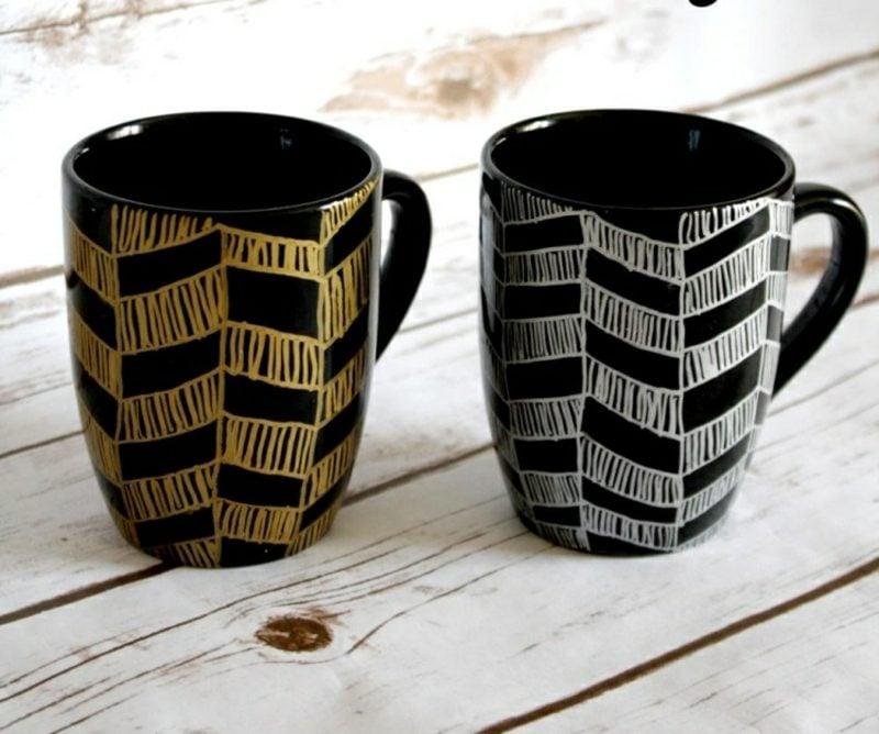Tassen selber gestalten schwarzes Porzellan