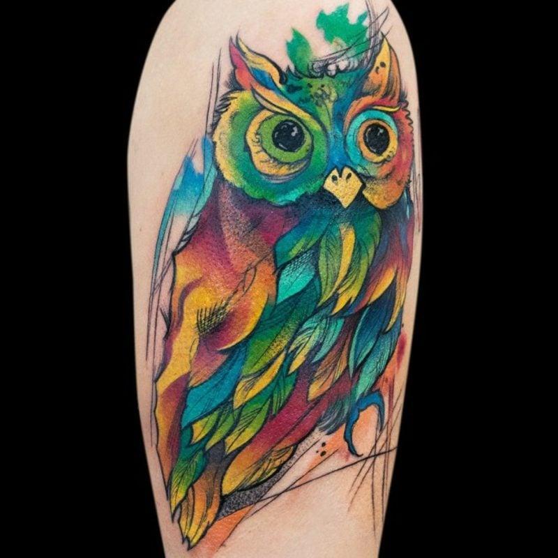 Wasserfarben Tattoos kreative Ideen Eule