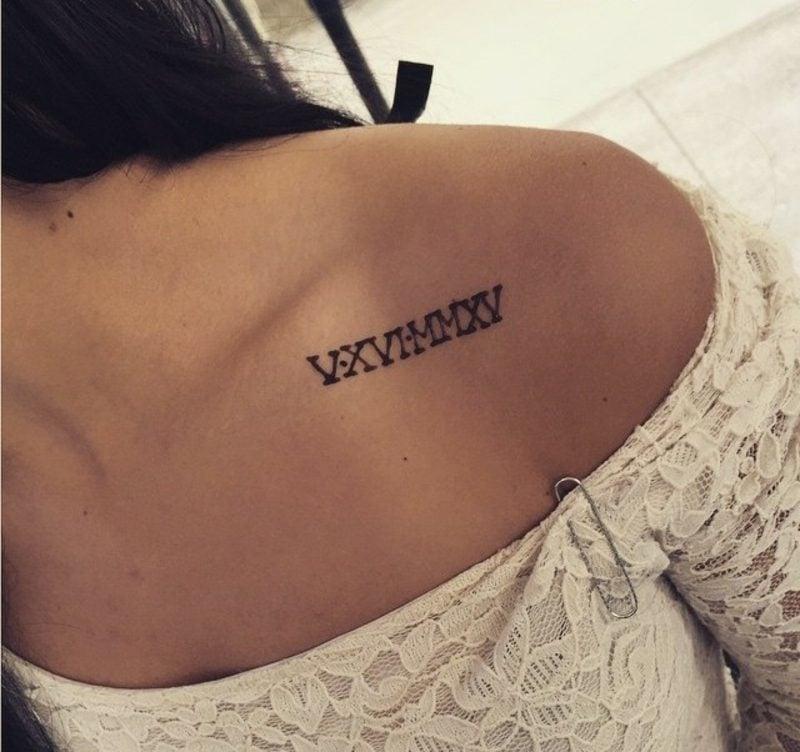 römische Zahlen Tattoo originelle Ideen Frauen