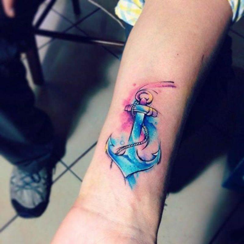 Aquarell Tattoos Anker Unterarm