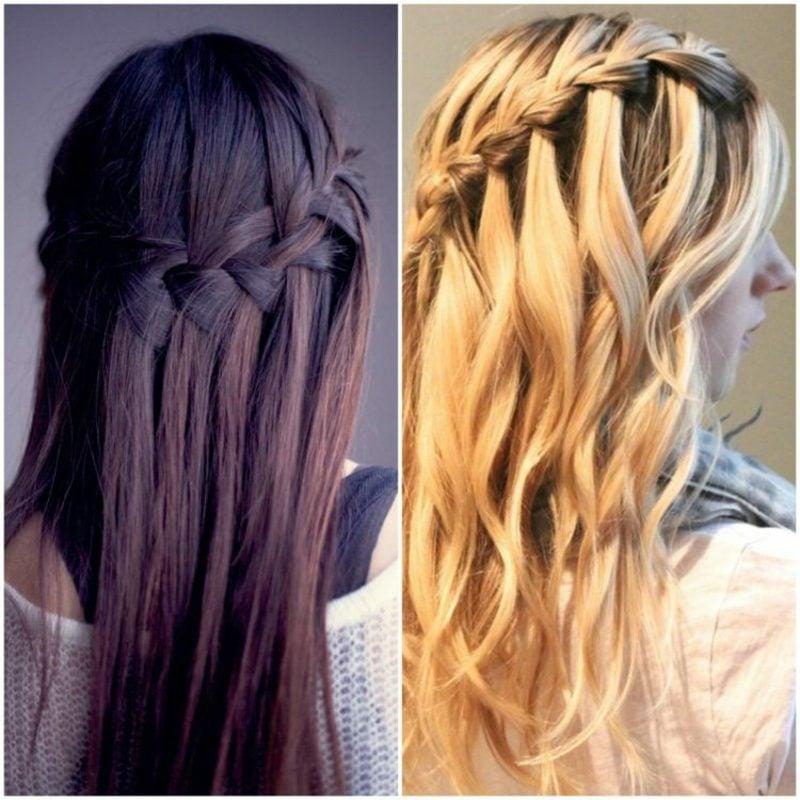 Frisuren für Frauen langes Haar Wasserfallzopf