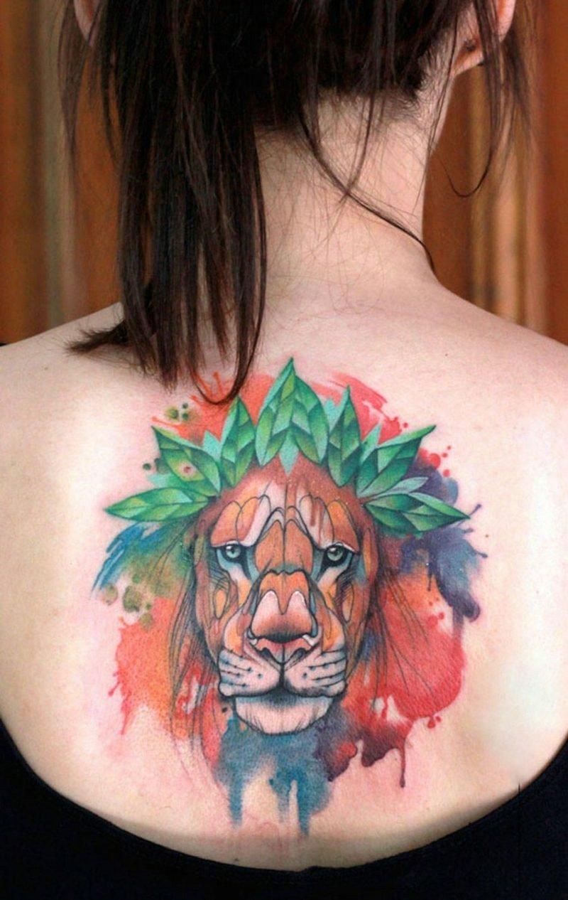 Wasserfarben Tattoos Tiermuster Löwe
