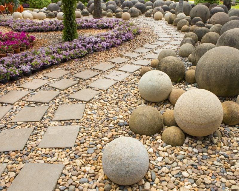 runde steine gartengestaltung