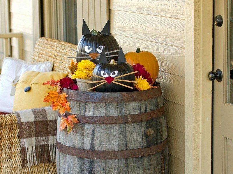 Herbstdeko für den Hauseingang selber mache Ideen zu Hallowwen