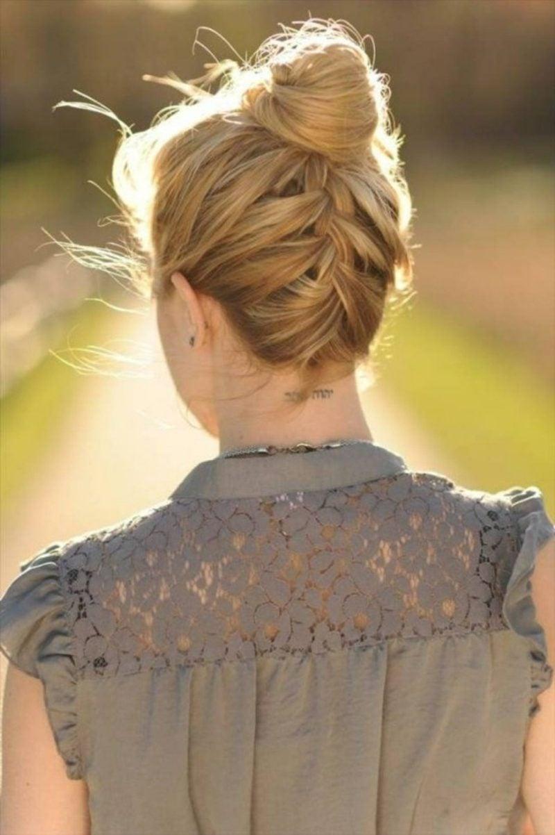 Frisuren selber machen geflochtener Dutt