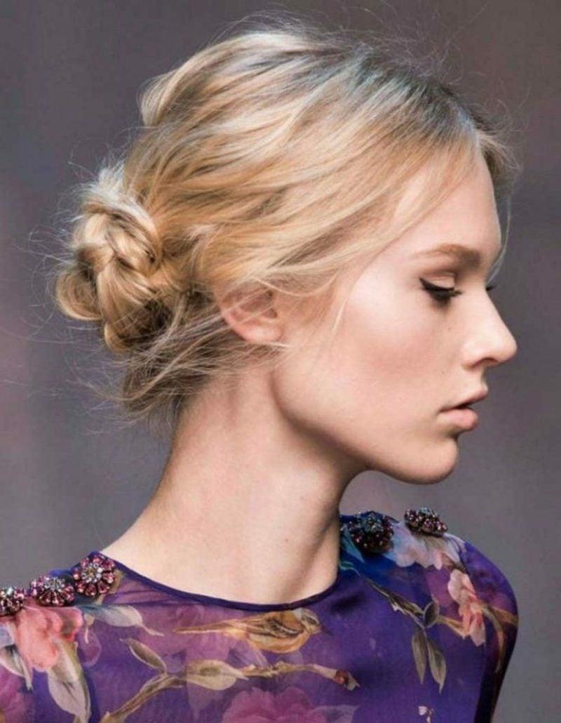 halblange Frisuren Frauen Knotendutt