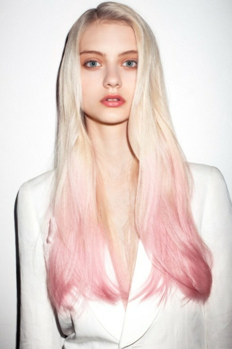 Haarfarben Trends Pastellrosa Ombre Haare