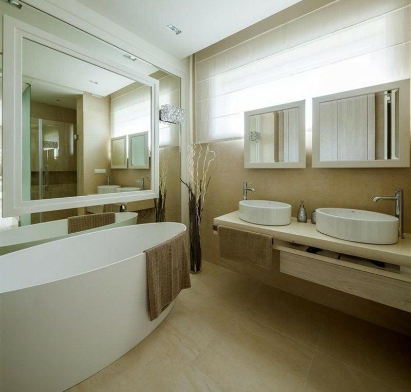 Badezimmer Fliesen beige moderner Look