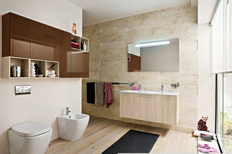 Badezimmer modern Holzboden Steinfliesen