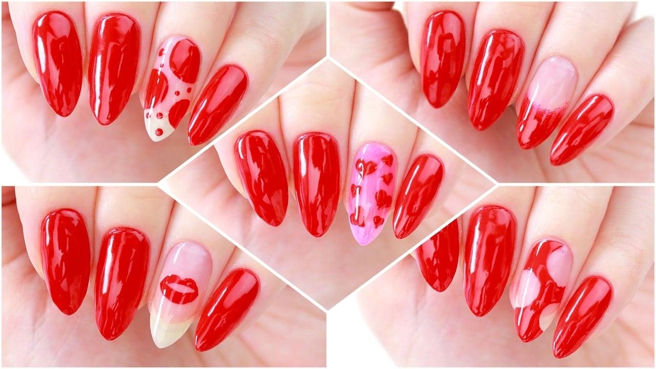 Schöne Nägel für Valentinstag