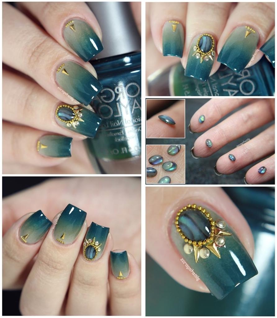 Schöne Fingernägel mit Edelsteinen dekoriert