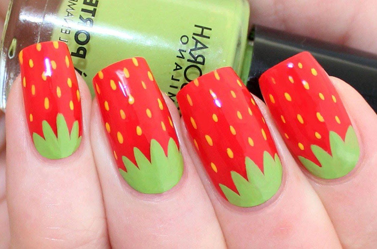 Erbeer-Muster für lustige Fingernägel Design