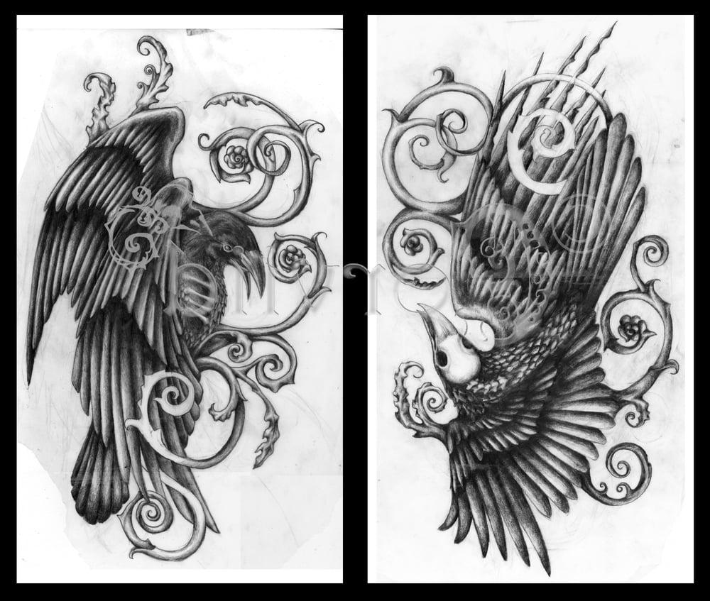 Raven Tattoo mit Wasserzeichen