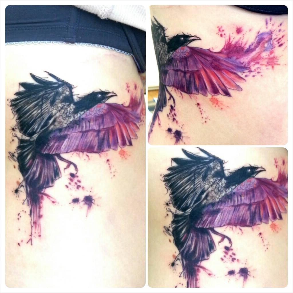Raben Tattoo - eine der Raben Odins