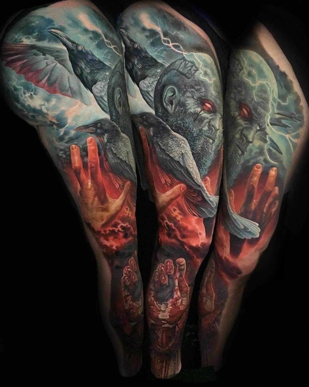 Nordische Tattoo - motive mit Odins Raben