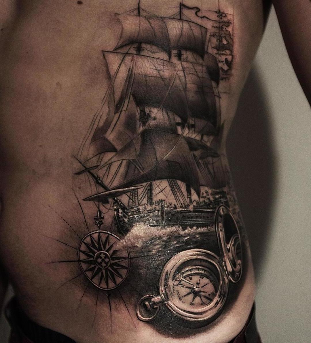 Wikinger Schiff - typisch nordische Tattoos