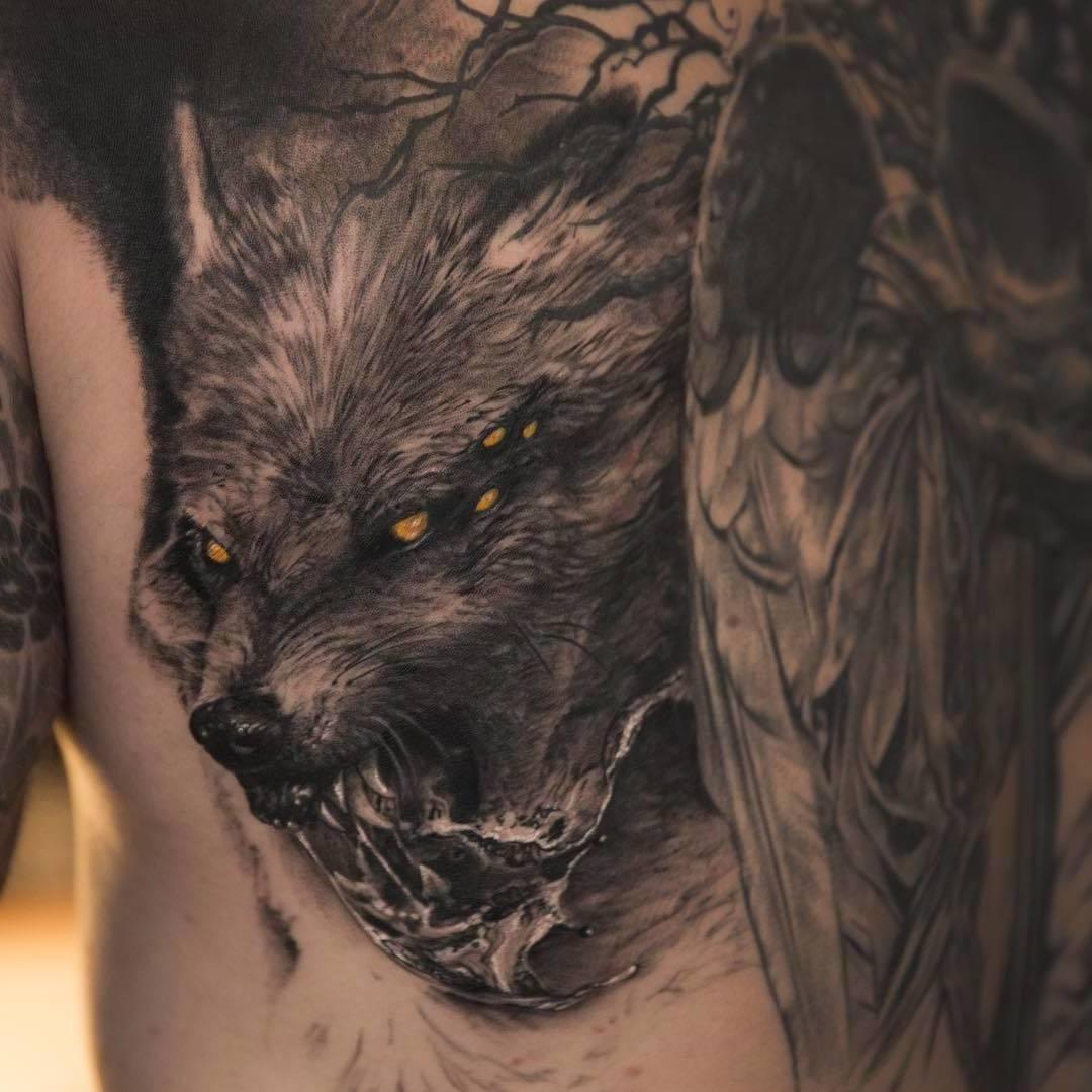 Odins Wölfe Tattoo aus der nordischen Mythologie
