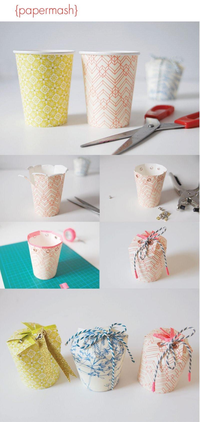 Kreative Idee: Geschenkbox falten mit Pappbecher