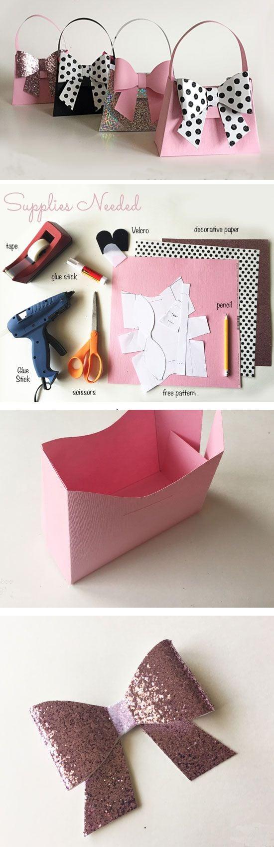 Schachtel falten in Form einer Tasche