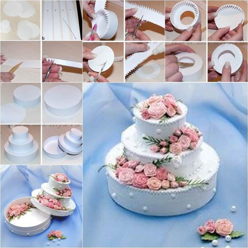 Hochzeitsgeschenk basteln: Geschenkbox basteln in Form einer Torte