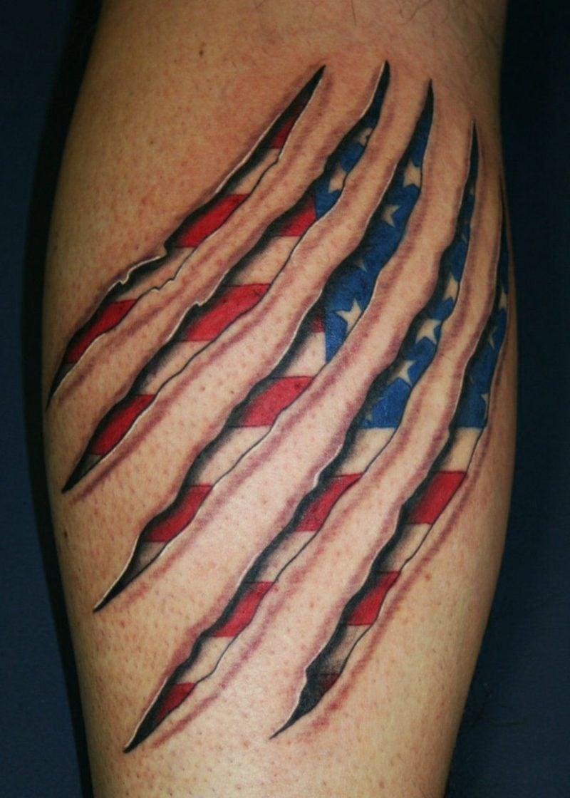 Männer Tattoos 3D patriotisch amerikanische Flagge
