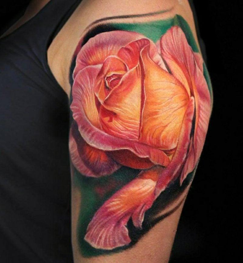 Tattoos Frau Rose 3D Oberarm