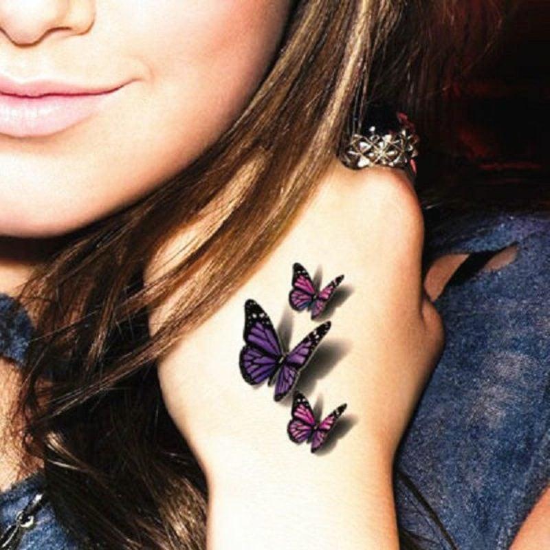 3D Tattoos Frau Schmetterlinge