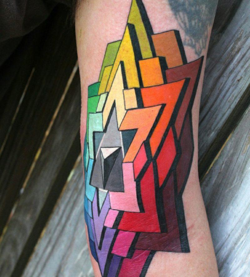 3D Tattoos geometrische Muster farbig