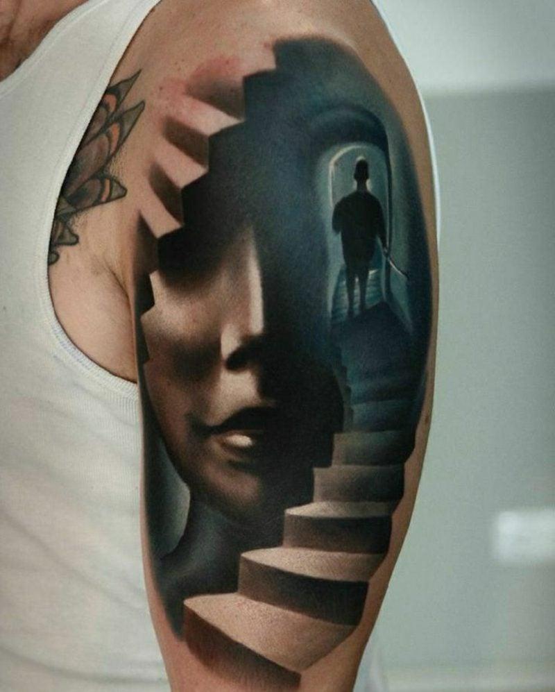 Tattoo Schulter Mann 3D abstrakrt