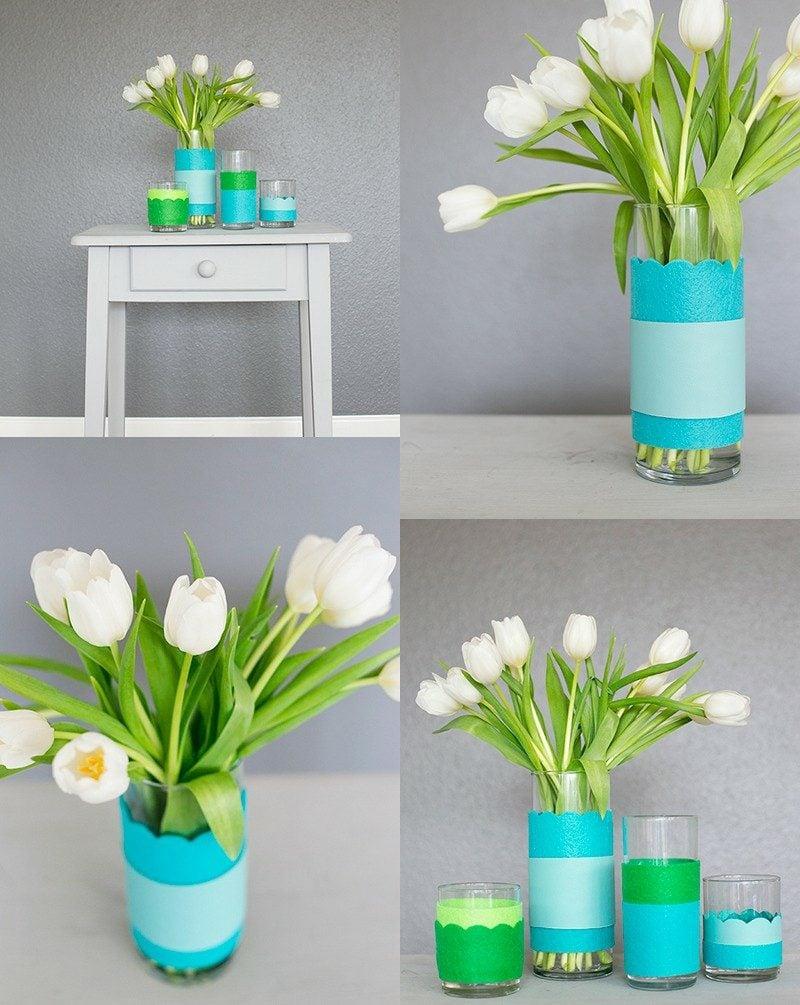 DIY Ideen Vase mit papier dekorieren