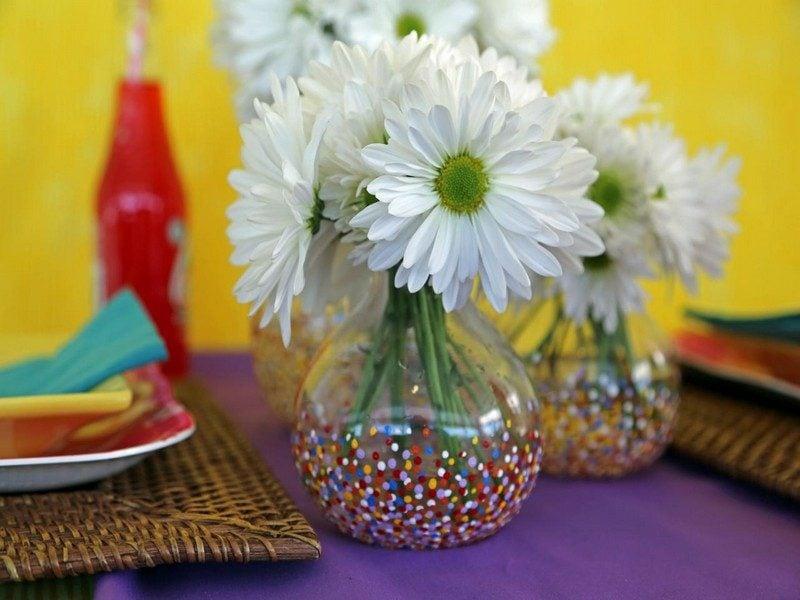 Bastelideen für Erwachsene Glasvase dekorieren